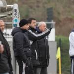 Schröcks Trainer Markus Kubonnik (mi) mit Betreuern (Foto: Michael Hahn)